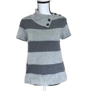 !! Tommy Hilfiger Gray Striped Short Sleeve Sweat
